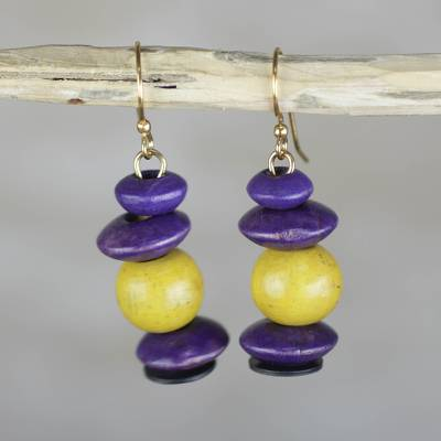 Wood dangle earrings, 'Stacks of Pebbles' - Yellow and Purple Sese Wood Pebbles Beaded Dangle Earrings