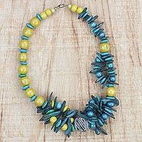 Coconut shell and wood beaded necklace, 'Lively' - Yellow and Teal Coconut Shell and Wood Beaded Necklace
