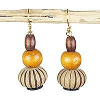 Wood and recycled plastic dangle earrings, 'Bohemian Goddess' - Sese Wood and Recycled Plastic Dangle Beaded Earrings