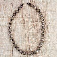 Wood and recycled plastic beaded necklace, 'Neutrals at Play' - Beige and Brown Recycled Plastic and Wood Bead Necklace