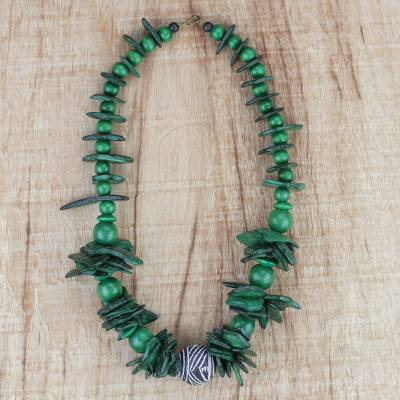 Coconut shell and wood beaded necklace, 'Vibrant Meadow' - Green Coconut Shell and Wood Beaded Necklace from Ghana