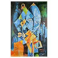 'Calm' - Signed Expressionist Painting of Masks from Ghana
