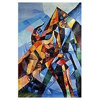 'Alidu and His Cow' - Signed Cubist Painting of a Man and a Cow from Ghana