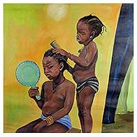 'Growing Up' - Signed Realist Painting of Two Children from Ghana