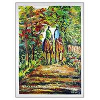 'Morning Ride' - Signed Impressionist Nature-Themed Painting from Ghana