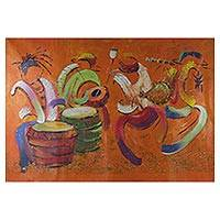 'Sunshine Music' (2013) - Signed Expressionist Music-Themed Painting from Ghana