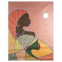 'Sisters Reflection' - Signed Cubist Painting of Two Sisters from Ghana