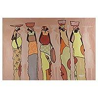 'Bread Winners' - Signed Expressionist Painting of Women from Ghana