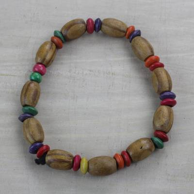 Wood beaded stretch bracelet, 'Colorful Akoo Ano' - Colorful Sese Wood Beaded Stretch Bracelet from Ghana
