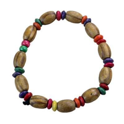 Colorful Sese Wood Beaded Stretch Bracelet from Ghana