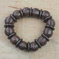 Wood beaded stretch bracelet, 'Royal Rings in Dark Brown' - Dark Brown Sese Wood Beaded Stretch Bracelet from Ghana