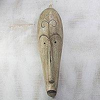 African wood mask, 'Fang Ngil' - Handcrafted Long African Sese Wood Mask from Ghana