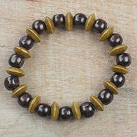 Wood beaded stretch bracelet, 'Adukrom Beauty' - Dark Brown Wood Beaded Stretch Bracelet from Ghana