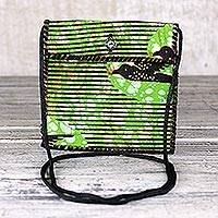 Cotton shoulder bag, 'Green Tag-Along' - Striped Cotton Shoulder Bag in Green from Ghana