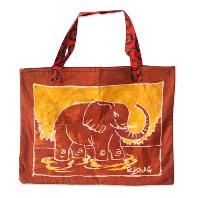 Batik Cotton Elephant Tote Bag from Ghana