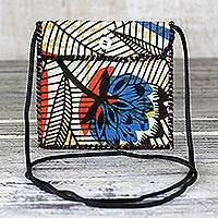 Cotton mini shoulder bag, 'African Flowers' - Multicolored Floral Cotton Shoulder Bag from Ghana