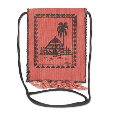 Cotton Shoulder Bag with Hut Design from Ghana