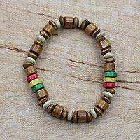 Wood beaded stretch bracelet, 'Cheer' - Natural and Multi-Color Wood Beaded Stretch Bracelet