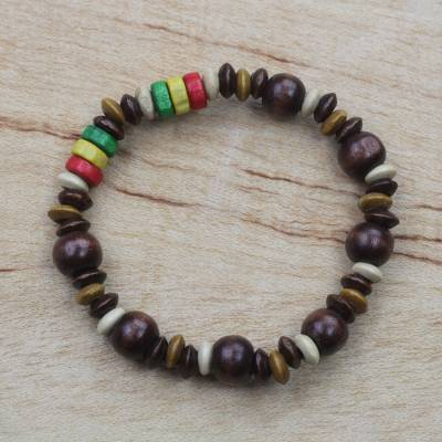 Wood beaded stretch bracelet, 'Earthen Landscape' - Natural and Multi-Color Wood Beaded Stretch Bracelet