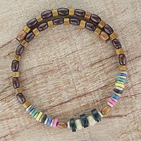 Wood beaded wrap necklace, 'Winsome' - Natural and Multi-Color Wood Beaded Wrap Necklace
