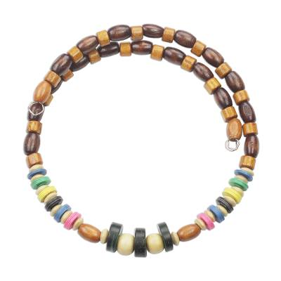 Natural and Multi-Color Wood Beaded Wrap Necklace
