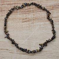 Tiger's eye beaded necklace, 'Wild Stone' - Tiger's Eye Long Beaded Necklace from Ghana