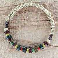 Wood beaded wrap necklace, 'Color Contentment' - Multi-Color Wood Bead and Disc Wrap Necklace