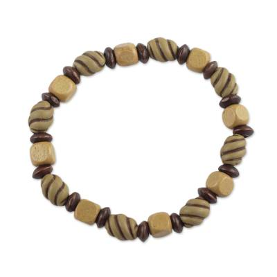 Handcrafted Sese Wood Recycled Beaded Stretch Bracelet