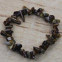 Tiger's eye beaded stretch bracelet, 'Earthen Envy' - Tiger's Eye Beaded Strand Stretch Bracelet