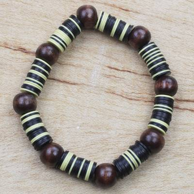 Wood beaded stretch bracelet, 'Monarch Caterpillar' - Yellow Black Recycled Plastic Disc and Wood Bead Bracelet