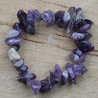 Amethyst beaded stretch bracelet, 'Twilit Hues' - Amethyst Beaded Strand Stretch Bracelet