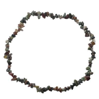 West African Quartz Chip Handcrafted Long Strand Necklace