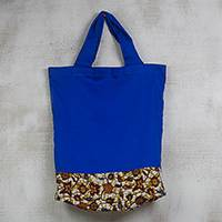 Cotton shopping bag, 'Leafy Shopper' - Leaf Motif Printed Cotton Shopping Bag from Ghana