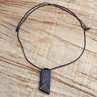 Wood pendant necklace, 'African Comb' - Long Sese Wood Pendant Necklace Hand Crafted in Ghana