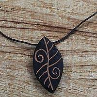 Wood pendant necklace, 'Afforestation' - Long Sese Wood Leaf Pendant Necklace Hand Crafted in Ghana