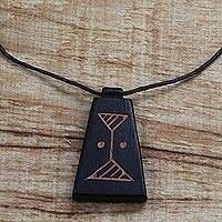 Wood pendant necklace, 'Our Time' - Long Sese Wood Pendant Necklace Hand Crafted in Ghana
