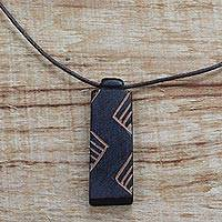 Wood pendant necklace, 'Move in Rhythm' - Long Sese Wood Pendant Necklace Hand Crafted in Ghana