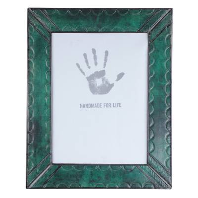 Handcrafted Green Leather Photo Frame from Ghana (8x10)