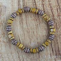 Wood beaded stretch bracelet, 'Almighty' - Recycled Beaded Sese Wood Stretch Bracelet from Ghana