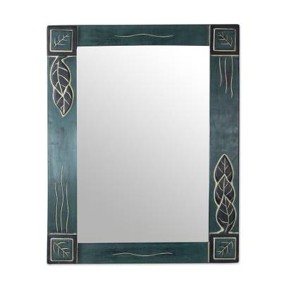 Hand Carved Cedar Wood Leaves Rectangle Glass Mirror