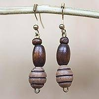 Wood and recycled plastic beaded dangle earrings, 'Cocoa Delight' - Wood and Recycled Plastic Beaded Dangle Earrings from Ghana