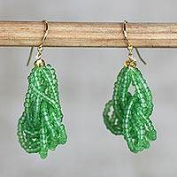 Recycled glass beaded dangle earrings, 'Vivacious Verdant' (Ghana)