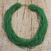 Recycled glass beaded necklace, 'Vivacious Verdant' - Green Recycled Glass Beaded Necklace from Ghana