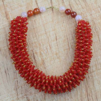 Agate and recycled glass beaded necklace, 'Radiant Beauty' - Recycled Glass and Agate Beaded Necklace from Ghana