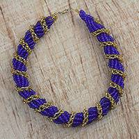 Recycled glass torsade necklace, 'Dare to Hope' - Handcrafted Recycled Glass Beaded Torsade Necklace