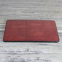 Leather mouse pad, 'Captivating Currant' - Handmade Brown Currant Leather Mouse Pad Office Accessory