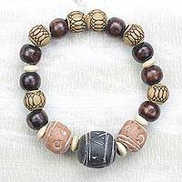 Ceramic and wood beaded stretch bracelet, 'Eco-Friendly Fashion' - Ceramic Wood and Recycled Plastic Beaded Stretch Bracelet