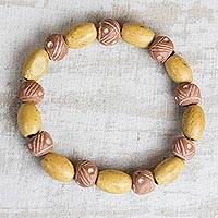 Wood and ceramic beaded stretch bracelet, 'Inner Beauty' - Sese Wood and Ceramic Beaded Stretch Bracelet from Ghana