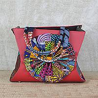 Cotton handle handbag, 'Bow Tie Beauty' - Multi-Colored Cotton Print Imitation Leather Handle Handbag