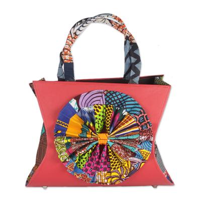 Multi-Colored Cotton Print Imitation Leather Handle Handbag